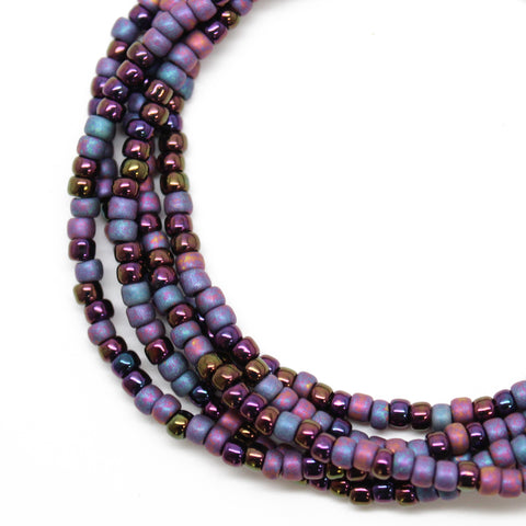 Purple Blue Seed Bead Necklace-Single Strand