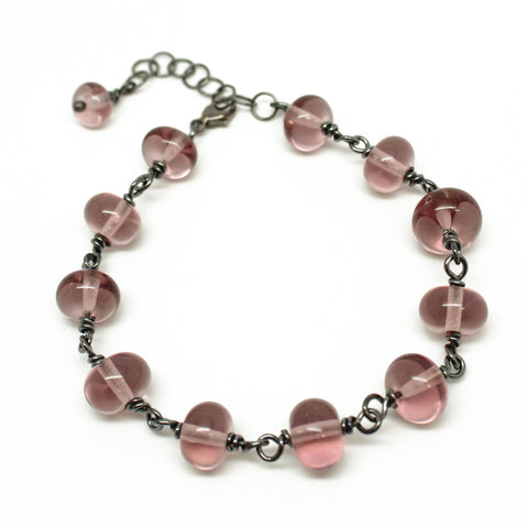 Light Purple Lampwork Bead Bracelet in Sterling Silver