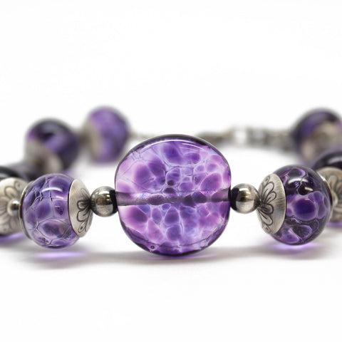 Purple Lampwork Bead Bracelet in Sterling Silver, Adjustable 8 to 9.25 Inches