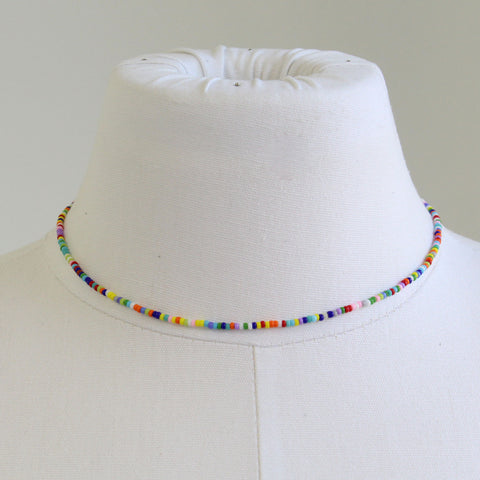 Tiny Multi Color Rainbow Bead Choker, Adjustable 14-16 Inches