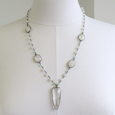 Rainbow Moonstone Necklace with Crystal Quartz Pendant