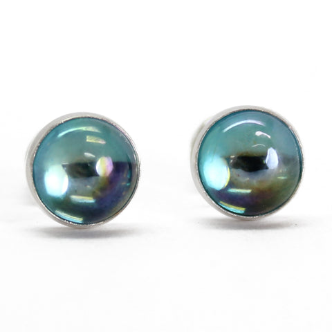 6mm rainbow topaz stud earrings