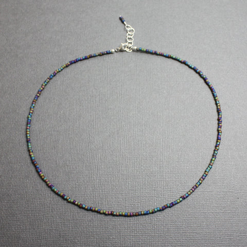 "Raku Blue Purple Choker Necklace-Adj 14""-15"""