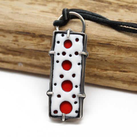 Rectangular Red and White Enamel Pendant in Sterling Silver