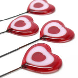 "Red and Pink Fused Glass Heart Plant Stake-One Stake-11"" Tall"