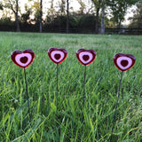 Red and Pink Fused Glass Heart Plant Stakes
