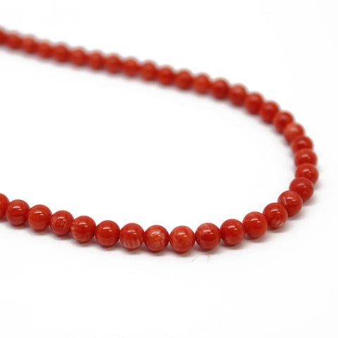 Red Bamboo Coral Necklace, Small 4mm Beads, Sterling Silver Clasp