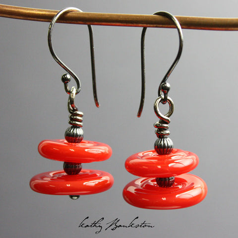 Red Lampwork Bead Earrings