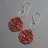 Red Enamel Flower Earrings With Sterling Silver Ear Wires