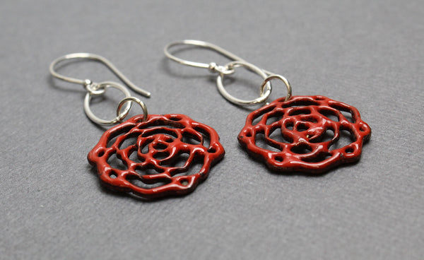 Sterling Silver Ear Wires Handmade Enamel Earrings Floral Design Red Round Earrings with White Flower Design Gift for Her