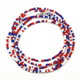 Red White and Blue Seed Bead Necklace-Single Strand