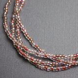 Pink Seed Bead Necklace-Rose Petal Pink-Single Strand 8/0 Beads