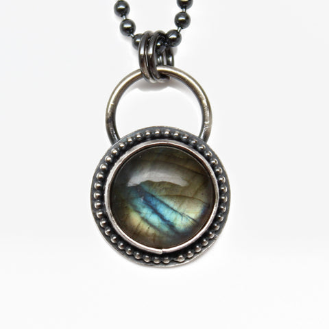 Handmade Labradorite Necklace, Sterling Silver 16""