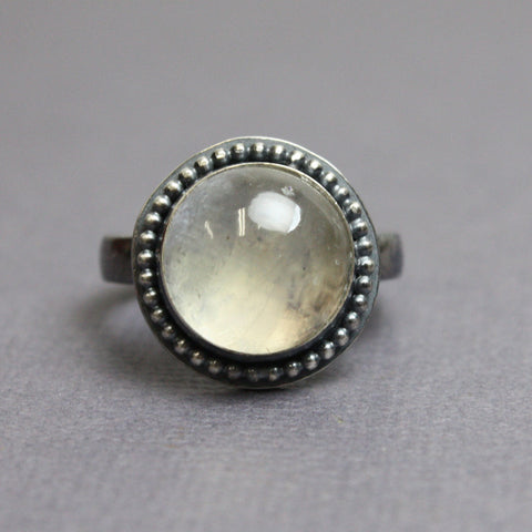 Moonstone Ring in Sterling Silver, Size 6.5 US