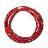Ruby Red Seed Bead Necklace-Single Strand