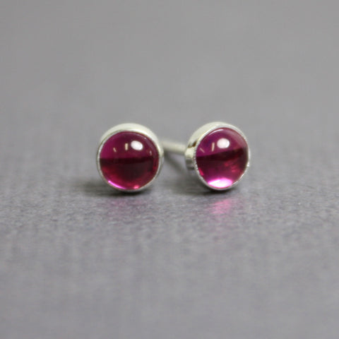 Handmade Ruby Stud Earrings in Sterling Silver~ 4mm