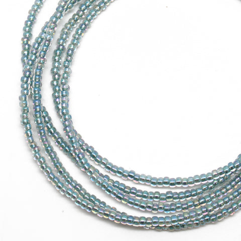 Blue Green Seed Bead Necklace-Sea Green-Single Strand-11/0