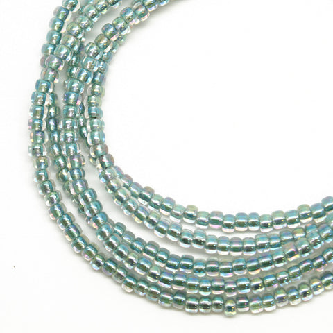 Blue Green Seed Bead Necklace-Sea Green-Single Strand-8/0