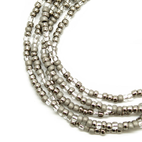 Silver and grey seed bead necklace