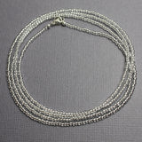 Silver Seed Bead Necklace-Shiny Metallic-Single Strand-11/0 Beads