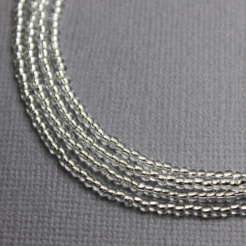 Shiny Silver Seed Bead Necklace