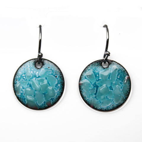 Blue Enamel Earrings with Sterling Silver Wires