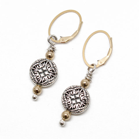 Silver and Gold Fill Beaded Drop Earrings with Lever Backs