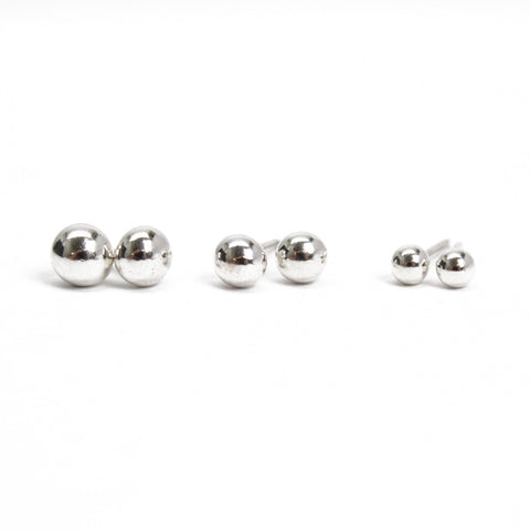 Small Sterling Silver Ball Studs, 4mm, 3mm, and Super Tiny 2mm, Recycled Silver Earrings, Simple Second Hole Studs, Dot Earrings