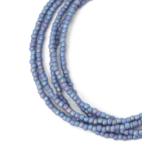 Blue Seed Bead Necklace-Soft Blue-Single Strand
