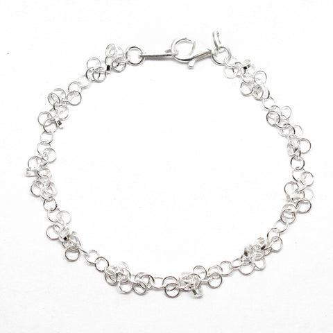 Sterling Silver Chain Bracelet with alternating extra links.
