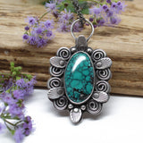 Huebi Turquoise and Sterling Silver Pendant Necklace
