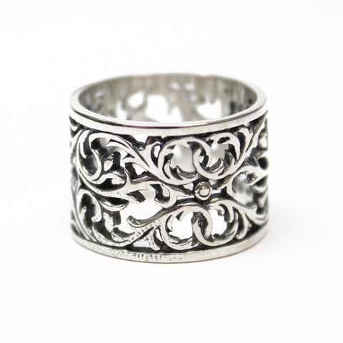 Sterling Silver Filigree Ring, Filigree Wide Band Ring