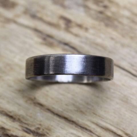 Sterling Silver Flat Band Ring, Brushed Matte Finish