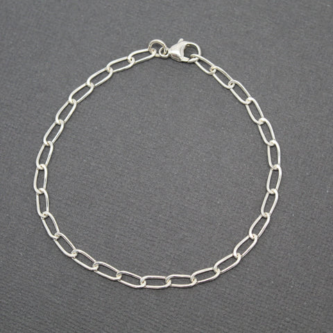 Sterling Silver Chain Bracelet, Hammered Elongated Oval Chain