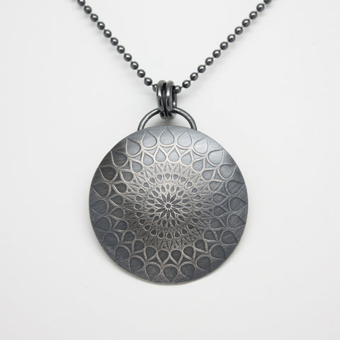 Sterling Silver Mandala Pendant Necklace-handmade