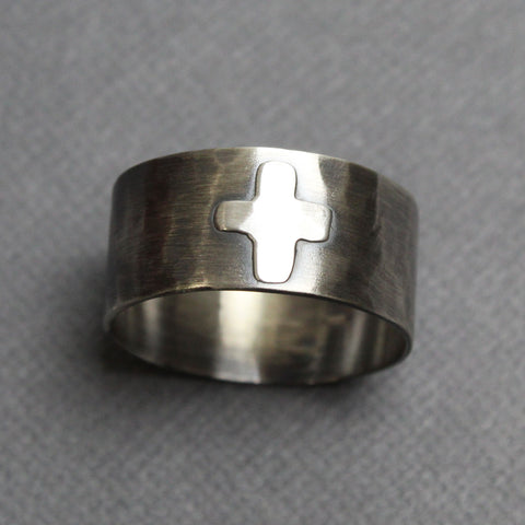 Handmade Sterling Silver Wide Band Cross Ring, 10 US