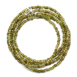 Green Seed Bead Necklace, Multi Color Olive Green, Single Strand