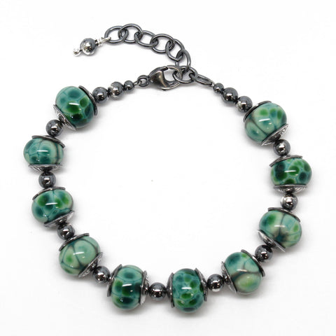Teal Green Lampwork Bead Bracelet in Sterling Silver