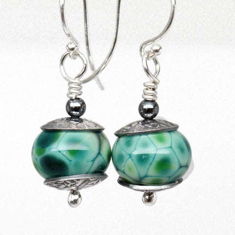 Teal Green Lampwork Bead Dangle Earrings in Sterling Silver