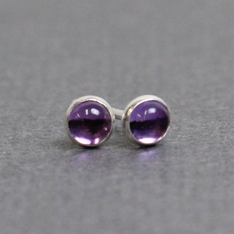 Tiny 3mm Amethyst Stud Earrings in Sterling Silver