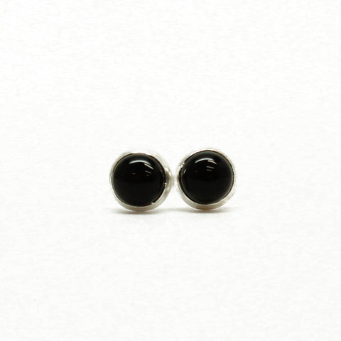 Black Onyx Stud Earrings-Tiny 3mm