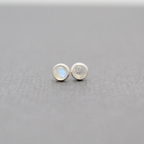 Tiny 3mm Moonstone Stud Earrings set in Sterling Silver