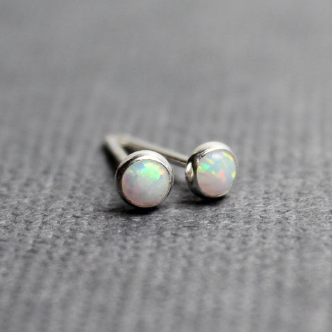 Tiny Opal Stud Earrings, 3mm all Sterling Silver