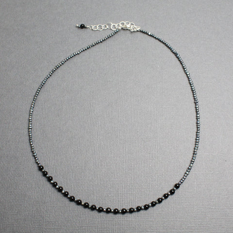 Silver Pearl and Black Onyx Choker Necklace