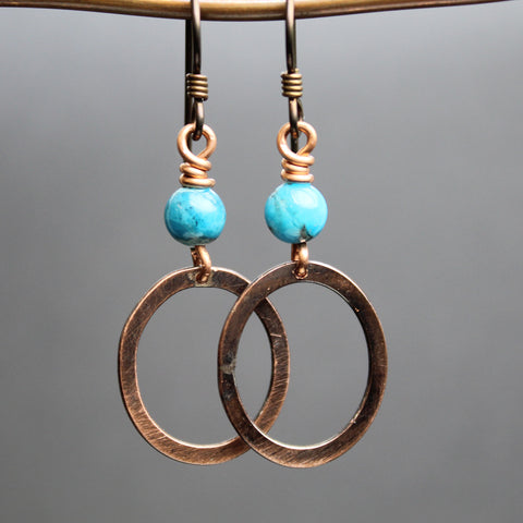 Kingman Turquoise and Copper Drop Earrings