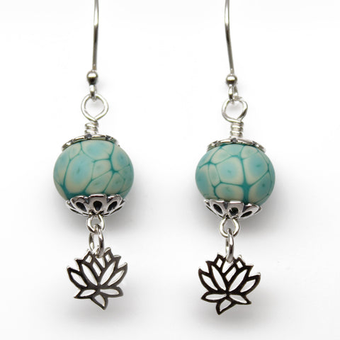 Turquoise Lampwork Bead Dangle Earrings with Sterling Silver Lotus Flowers