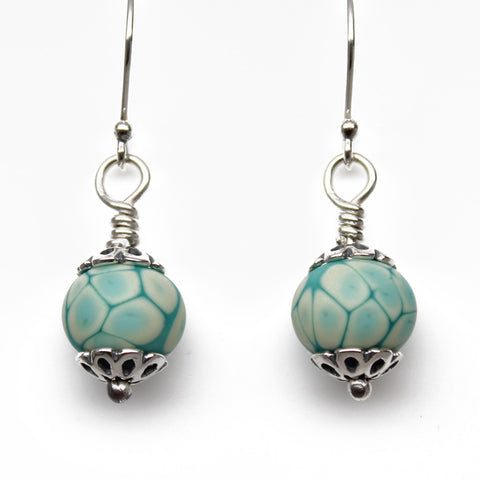 Turquoise Lampwork Bead Dangle Earrings in Sterling Silver