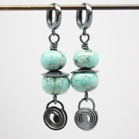 Turquoise Green Earrings with Sterling Silver Hinged Hoops