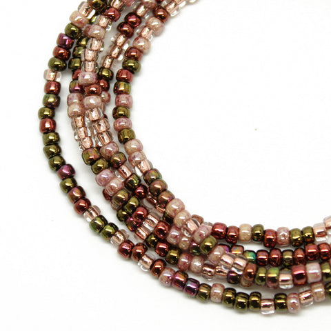 Vintage Rose Seed Bead Necklace, Multi Color Single Strand Necklace