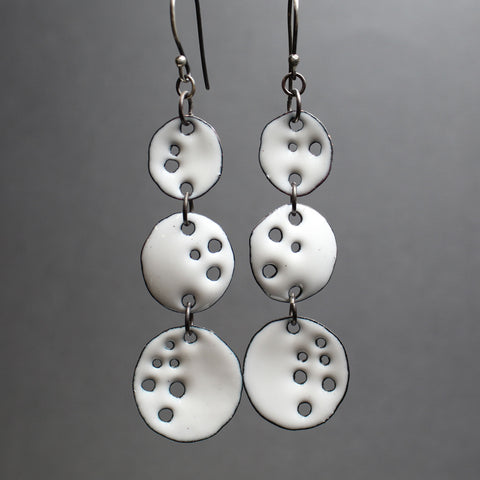 White Enamel Dangle Earrings